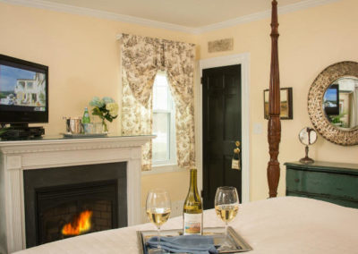 Garden Room Fireplace | Brewster By the Sea Cape Cod B&B | Brewster, MA