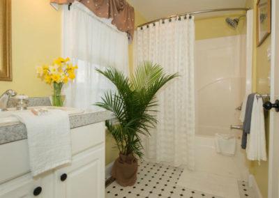 Beach Blossom Room Bathroom | Brewster By the Sea Cape Cod B&B | Brewster, MA