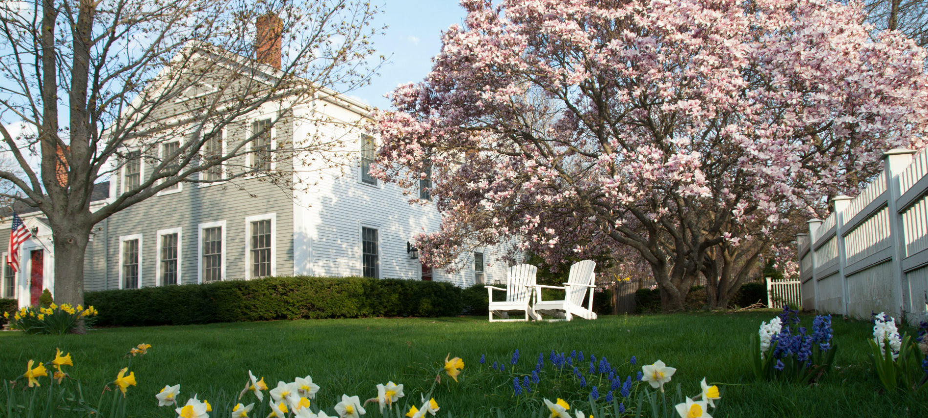 Brewster by the Sea Inn in the spring with green grass, yellow and white flowers and pink blooming tree | Brewster By the Sea Cape Cod Inn | Brewster, MA