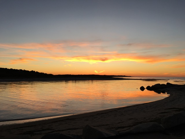 Yellow and orange streaked sky after sunset over Paines creek | Brewster By the Sea Cape Cod Inn | Brewster, MA
